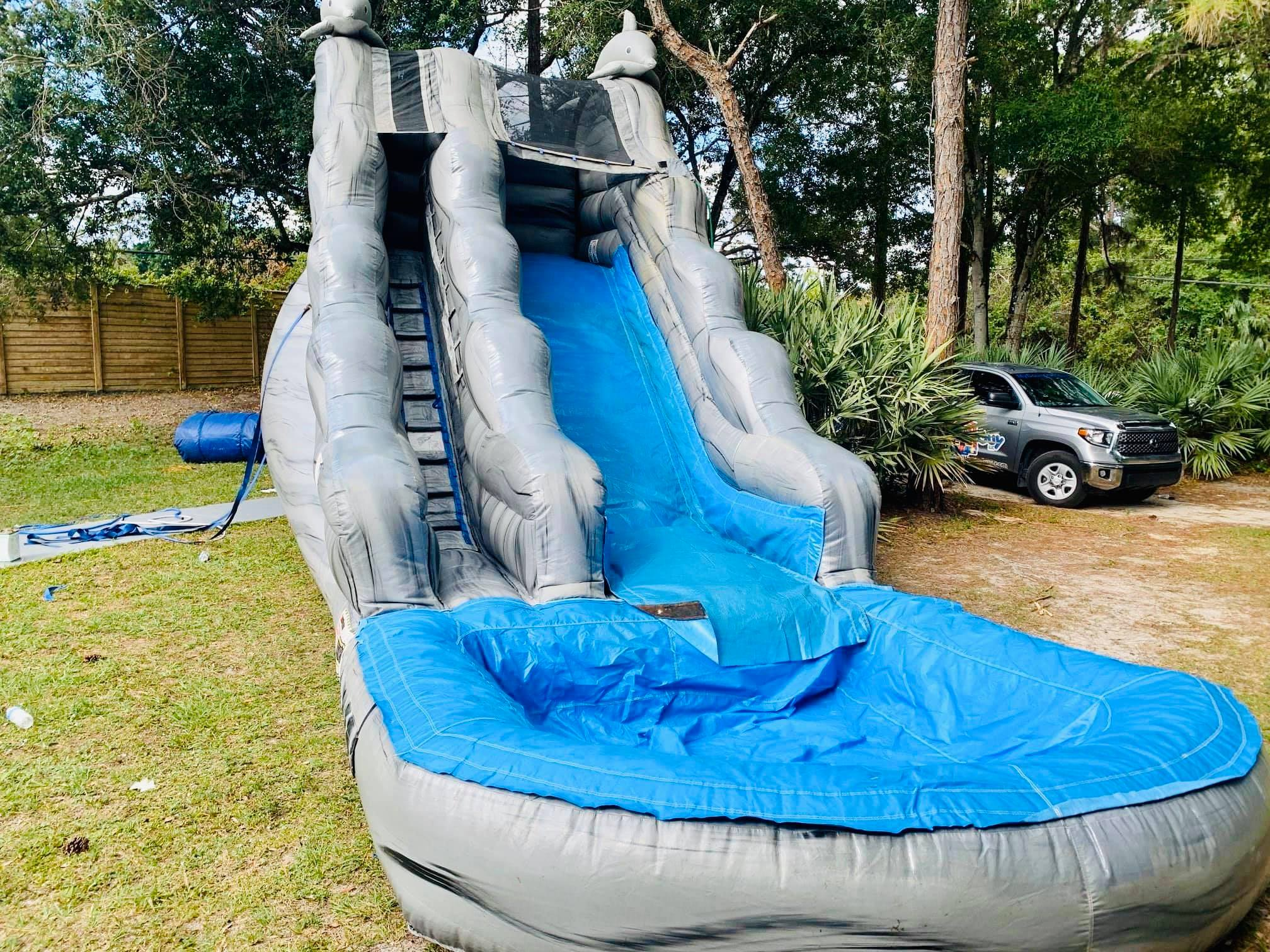 Gray and Blue Water Slide